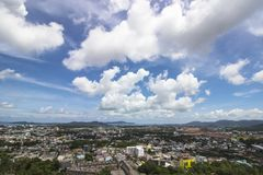 Phuket attractive city  in Thialand. On blue sky background Royalty Free Stock Photo