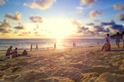 Phuket beach and sunset.Background holidays concept. Royalty Free Stock Images