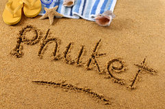 Phuket Thailand beach sand word writing Royalty Free Stock Photo