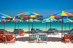 Phuket 2. Camp Bed under the umbrella of colorful  on beach Phuket, Thailand Stock Photo