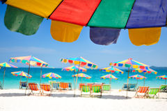 Phuket. Camp Bed under the umbrella of colorful  on beach Phuket, Thailand Stock Photos
