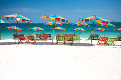 Phuket. Camp Bed under the umbrella of colorful  on beach Phuket, Thailand Stock Images