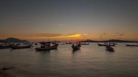 Phuket famous beach sunrise boat parking panorama 4k time lapse thailand stock footage
