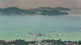 Phuket famous port traffic high mountain panorama 4k time lapse thailand stock video footage