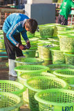 PHUKET - FEBRUARY 23 : Burmese people are working in fish market Stock Photography