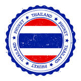 Phuket flag badge. Vintage travel stamp with circular text, stars and island flag inside it. Vector illustration Royalty Free Stock Photography