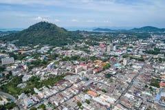 Phuket gammal stad med gamla byggnader Arkivfoto