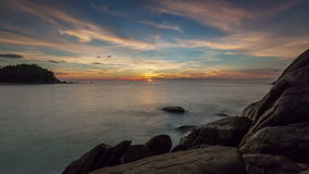 Phuket island beach sunset panorama 4k time lapse thailand. Thailand phuket island beach sunset panorama 4k time lapse stock footage
