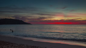 Phuket island kata beach sunset panorama 4k time lapse thailand stock video