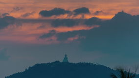 Phuket island main buddha sunset sky panorama 4k time lapse thailand stock video