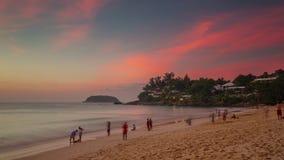 Phuket island sunset small beach panorama 4k time lapse thailand stock video footage
