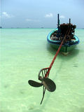 Phuket longtail boat. Longtail boat in clear green andaman ocean stock photography