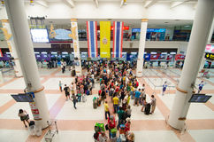 Phuket - March 17: Passengers arrive at check-in counters at Phu Stock Photo