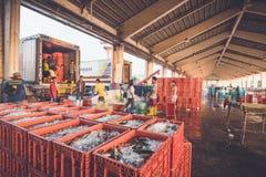 PHUKET - MARS 10: Det Burmese folket arbetar i fiskmarknad på Arkivfoto