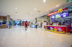Phuket, 22 May 2014: First floor of Central Festival mall with M. CDonalds cafe and escalator at Phuket Town, Phuket province, Thailand Stock Photos