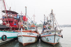 PHUKET - OCTOBER 6 : Fishing boats stand in the harbor Royalty Free Stock Photography