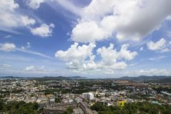 Phuket small town in Thialand. On blue sky background Stock Photo