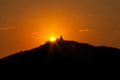 Phuket stor Buddha på solnedgång Royaltyfri Foto