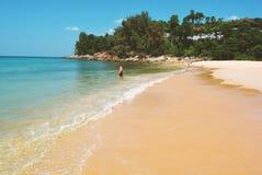 Phuket strand med havet och vågen Tropiskt landskap med stranden och royaltyfri fotografi
