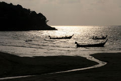 Phuket sunset on Fishing Boats Royalty Free Stock Photography