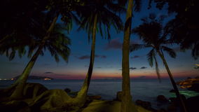 Phuket sunset palm beach panorama 4k time lapse thailand stock video
