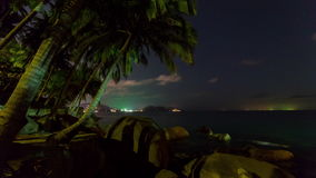 Phuket sunset twilight palm patong beach panorama 4k time lapse thailand stock video