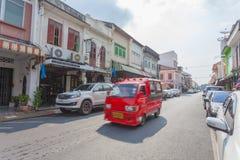 Phuket, Tailandia 29 novembre 2015: Vecchia costruzione cino Portugues fotografia stock