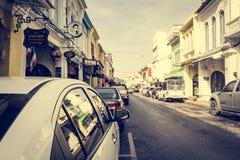 PHUKET TAJLANDIA, NOV, - 21: Phuket stary miasteczko w thalang drodze z Fotografia Royalty Free