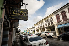 PHUKET TAJLANDIA, NOV, - 21: Phuket stary miasteczko w thalang drodze z Zdjęcie Stock