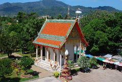 Phuket, Thailand: Abbot Temple at Wat Chalong. The Reverend Father Abbot temple is a little jewel at Wat Chalong with its colourful orange and green roof. gilded Stock Images