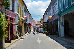 Phuket, Thailand - April 15, 2014: Tourist visit Old building Chino Portuguese style in Phuket Stock Photography