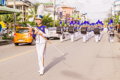 Phuket, Thailand - Aug 26, 2016 : Cheerleader and parade of various sc Stock Photography
