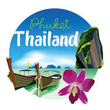 Phuket Thailand Beach Scenery Illustration with orchid Royalty Free Stock Photography