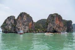 Phuket, Thailand - circa September 2015: Islands and limestone cliffs of Andaman Sea, Phang Nga Bay,  Thailand Stock Photo