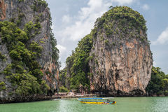 Phuket, Thailand - circa September 2015: Islands and limestone cliffs of Andaman Sea, Phang Nga Bay,  Thailand Royalty Free Stock Photos