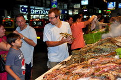 Phuket, Thailand: Customers Choosing Lobsters Stock Images