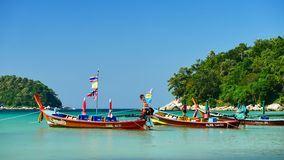 Long-tail boats converted boat excursions In order to serve tourists. PHUKET , THAILAND,DEC 2017 : Group of Long-tail boats converted boat excursions In order to stock footage