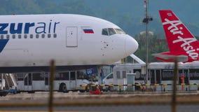 Passengers leaving airplane