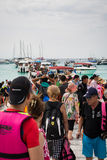 PHUKET, THAILAND - FEB 01 : Crowd of tourist in raya island, Phu Royalty Free Stock Photos