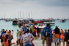PHUKET, THAILAND - FEB 01 : Crowd of tourist in raya island, Phu Royalty Free Stock Photo