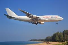 Orient Tha. Phuket/Thailand Februar 9, 2017: Boeing 747 from Orient Thai landing at Phuket Airport Stock Photography