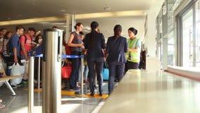 Phuket, Thailand - February 23, 2017: Passengers go on boarding the plane. The last passport control. Phuket International Airport stock footage