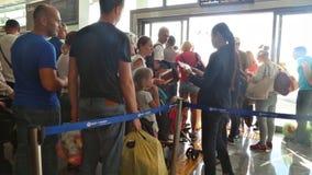 Phuket, Thailand - February 23, 2017: Passengers go on boarding the plane. The last passport control. Phuket International Airport stock video