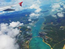 Phuket. Thailand island airplane plane view point sky sea bueatiful green blue Royalty Free Stock Images