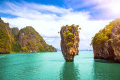 Phuket Thailand island. James Bond island in Phang Nga bay. Famous tropical beach and famous travel destination Royalty Free Stock Photo