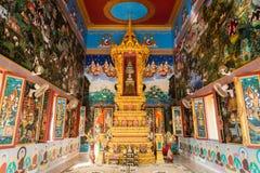 PHUKET, THAILAND - JAN 11 : Interior of buddhist sanctuary at Khao Rang Temple ( Wat Khao Rang ) in phuket, Thailand royalty free stock image
