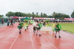 PHUKET, THAILAND - JUL 13 : Parade of schoolchild in the stadium Stock Photos
