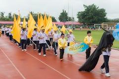 PHUKET, THAILAND - JUL 13 : Parade of schoolchild in the stadium Royalty Free Stock Images