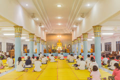 Phuket, Thailand - July 30, 2015 : Monks and Buddhis were prayin Royalty Free Stock Photos