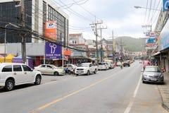 PHUKET, THAILAND - JULY 31, 2013: Street near the Karon beach Royalty Free Stock Photography